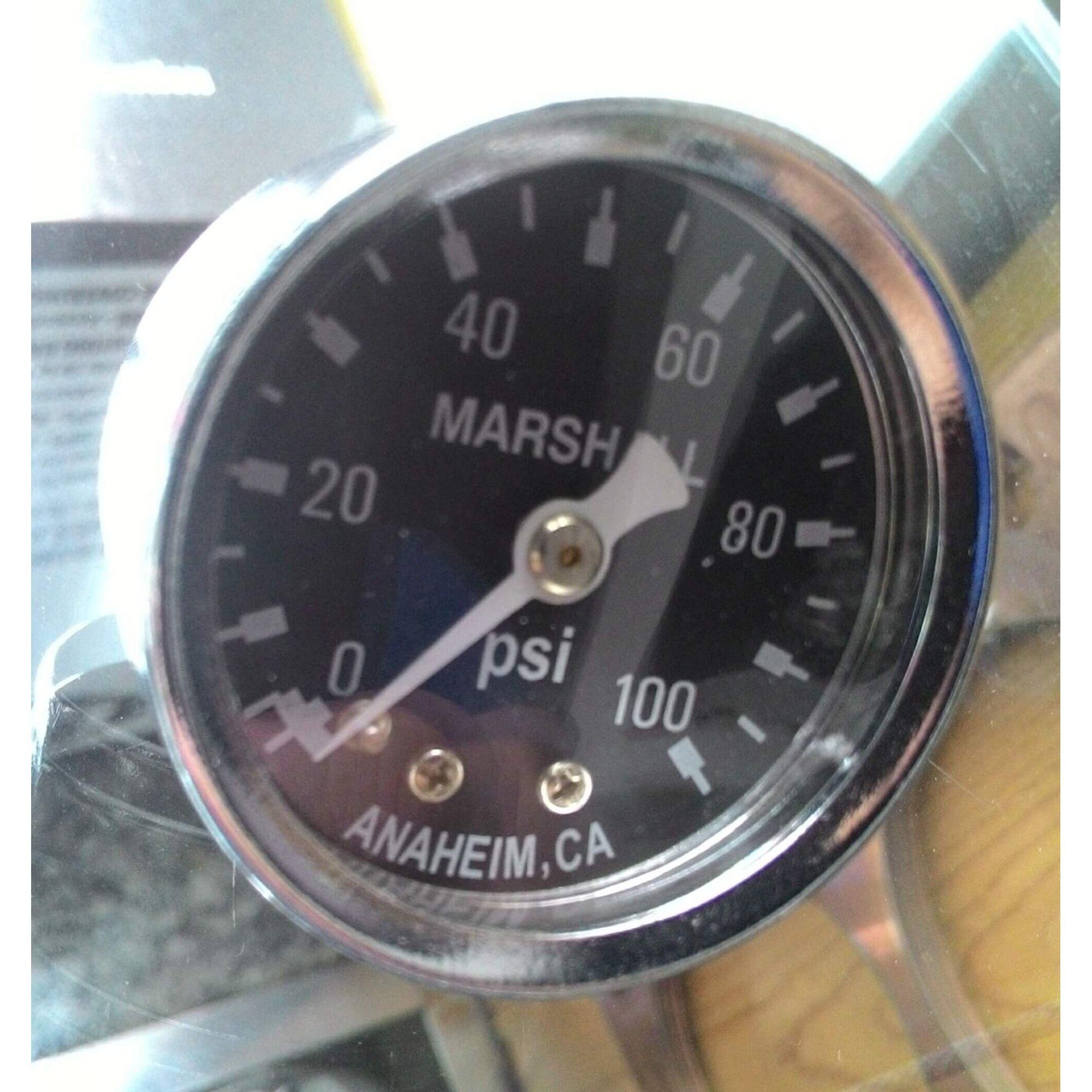 Manômetro para Linha de Combustível - 100 PSI  - Preto - CHM  - PRO-1 Serious Performance