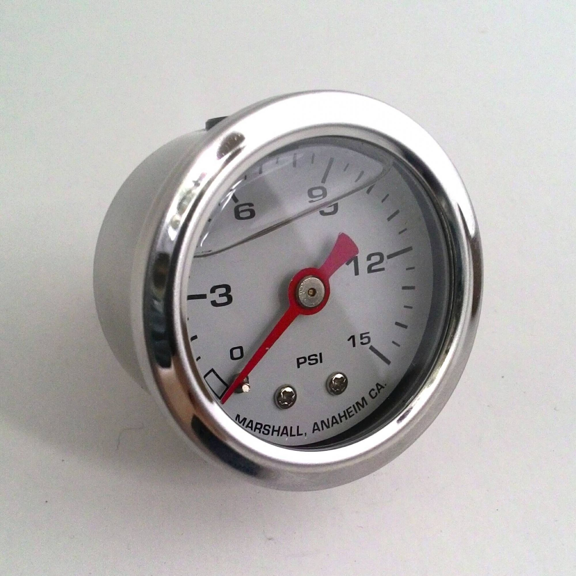 Manômetro para Linha de Combustível - 15 PSI com Líquido - Branco - CHM  - PRO-1 Serious Performance