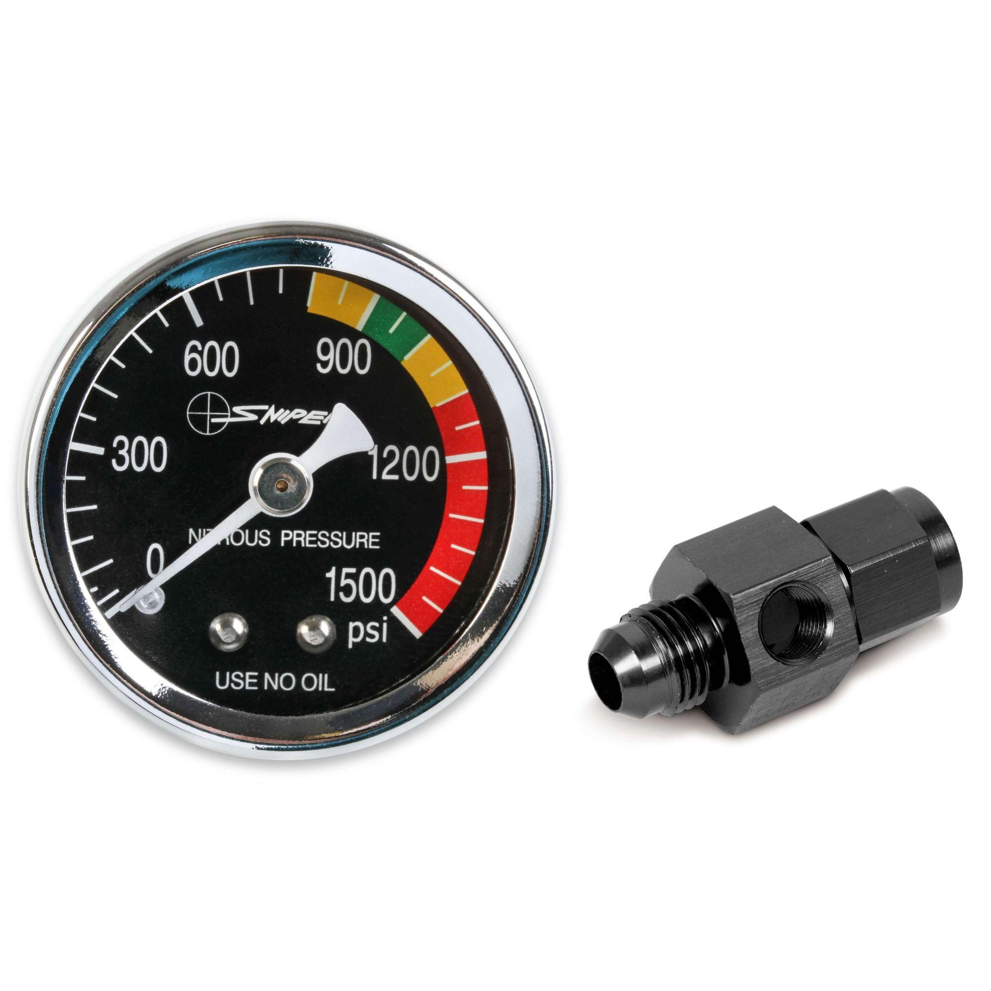 """Manômetro para pressão de nitro - 1,5"""" - 4AN - Preto - NOS  - PRO-1 Serious Performance"""