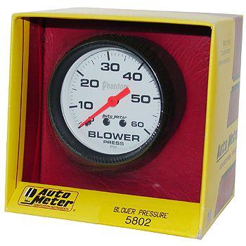 """Manômetro Pressão Blower 0 - 60 PSI - Mecânico - 2"""" 5/8"""" - Phantom - AUTO METER  - PRO-1 Serious Performance"""
