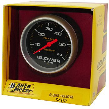 "Manômetro Pressão Blower 0 - 60 PSI - Mecânico - 2"" 5/8"" - Pro-Comp com Líquido - AUTO METER  - PRO-1 Serious Performance"