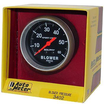 "Manômetro Pressão Blower 0 - 60 PSI - Mecânico - 2"" 5/8"" - Sport Comp - AUTO METER  - PRO-1 Serious Performance"