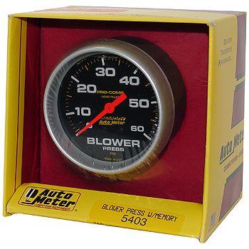 """Manômetro Pressão Blower com Memória - 0 - 60 PSI - 2"""" 5/8"""" - Pro-Comp com Líquido - AUTO METER  - PRO-1 Serious Performance"""