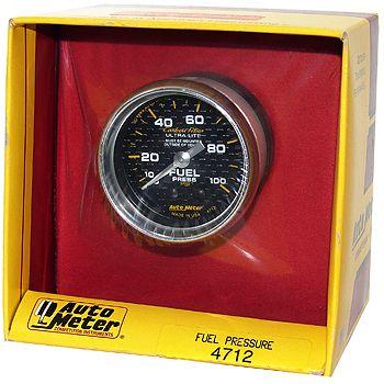 "Manômetro Pressão Combustível 0 - 100 PSI - Mecânico - 2"" 1/16"" - Carbon Fiber - AUTO METER  - PRO-1 Serious Performance"