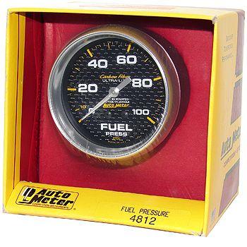 "Manômetro Pressão Combustível 0 - 100 PSI - Mecânico - 2"" 5/8"" - Carbon Fiber - AUTO METER  - PRO-1 Serious Performance"