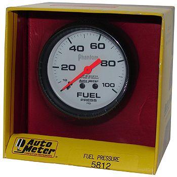 "Manômetro Pressão Combustível 0 - 100 PSI - Mecânico - 2"" 5/8"" - Phantom - AUTO METER  - PRO-1 Serious Performance"