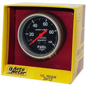 "Manômetro Pressão Combustível 0 - 100 PSI - Mecânico - 2 5/8"" - Sport Comp - AUTO METER  - PRO-1 Serious Performance"