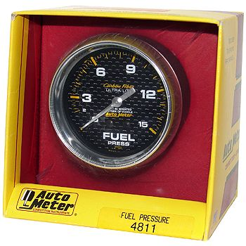 "Manômetro Pressão Combustível 0 - 15 PSI - Mecânico - 2"" 5/8"" - Carbon Fiber - AUTO METER  - PRO-1 Serious Performance"