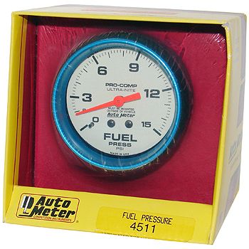 "Manômetro Pressão Combustível 0 - 15 PSI - Mecânico - 2"" 5/8"" - Ultra-Nite (Fosforescente) - AUTO METER  - PRO-1 Serious Performance"