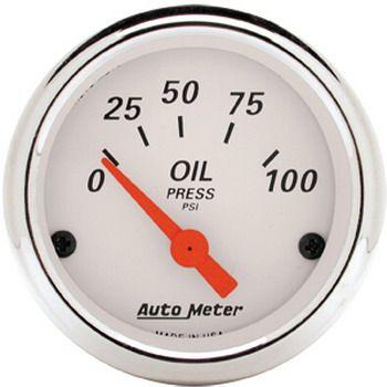 "Manômetro Pressão de Óleo 0 - 100 PSI - Elétrico - 2"" 1/16"" - Arctic White - AUTO METER  - PRO-1 Serious Performance"