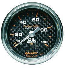"Manômetro Pressão de Óleo 0-100 PSI - Mecânico - 2"" 1/16"" - Carbon Fiber - AUTO METER  - PRO-1 Serious Performance"