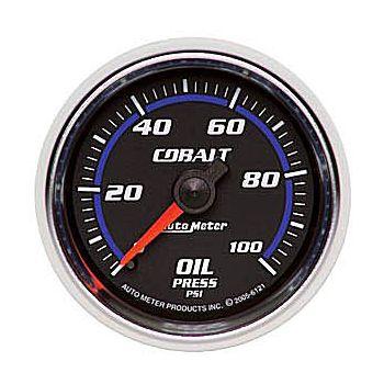 "Manômetro Pressão de Óleo 0-100 PSI - Mecânico - 2"" 1/16"" - Cobalt - AUTO METER  - PRO-1 Serious Performance"
