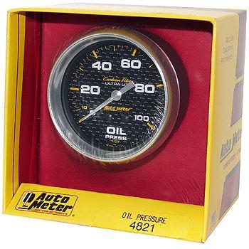 "Manômetro Pressão de Óleo 0 - 100 PSI - Mecânico - 2"" 5/8""- Carbon Fiber - AUTO METER  - PRO-1 Serious Performance"
