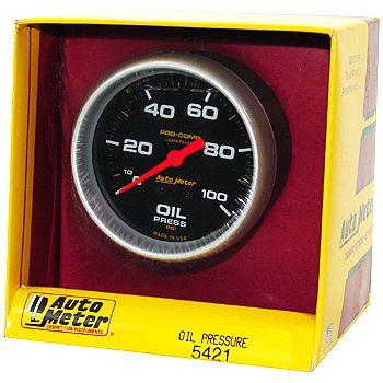"""Manômetro Pressão de Óleo 0 - 100 PSI - Mecânico - 2"""" 5/8""""- Pro-Comp Com Líquido - AUTO METER  - PRO-1 Serious Performance"""