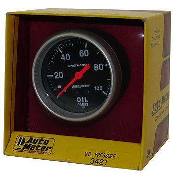 "Manômetro Pressão de Óleo 0 - 100 PSI - Mecânico - 2"" 5/8"" - Sport Comp - AUTO METER  - PRO-1 Serious Performance"