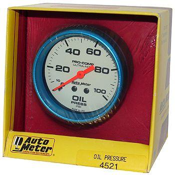 "Manômetro Pressão de Óleo 0 - 100 PSI - Mecânico - 2"" 5/8"" - Ultra-Nite (Fosforecente) - AUTO METER  - PRO-1 Serious Performance"