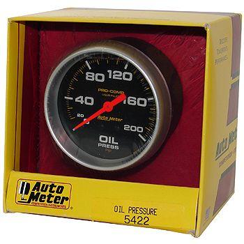 """Manômetro Pressão de Óleo 0 - 200 PSI - Mecânico - 2"""" 5/8""""- Pro-Comp com Líquido - AUTO METER  - PRO-1 Serious Performance"""