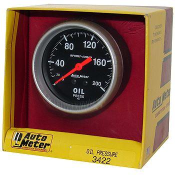 "Manômetro Pressão de Óleo 0 - 200 PSI - Mecânico - 2"" 5/8"" - Sport Comp - AUTO METER  - PRO-1 Serious Performance"