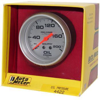"Manômetro Pressão de Óleo 0 - 200 PSI - Mecânico - 2"" 5/8"" - Ultra-Lite - AUTO METER  - PRO-1 Serious Performance"