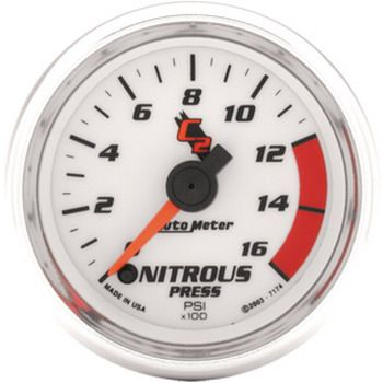 "Manômetro Pressão Nitro 0 - 1600 PSI - Elétrico - 2"" 1/16"" - C2 - AUTO METER  - PRO-1 Serious Performance"