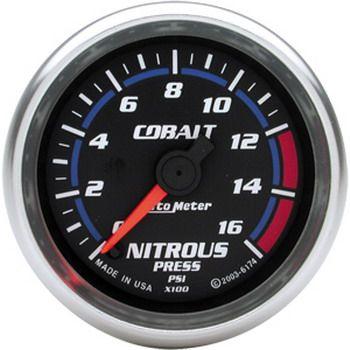 "Manômetro Pressão Nitro 0 - 1600 PSI - Elétrico - 2"" 1/16"" - Cobalt - AUTO METER  - PRO-1 Serious Performance"