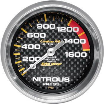 "Manômetro Pressão Nitro 0 - 1600 PSI - Mecânico - 2"" 5/8"" - Carbon Fiber - AUTO METER  - PRO-1 Serious Performance"