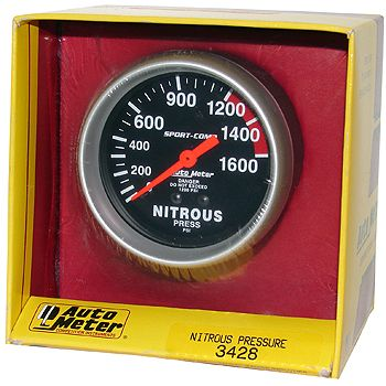 "Manômetro Pressão Nitro 0 - 1600 PSI - Mecânico - 2 5/8"" - Sport Comp - AUTO METER  - PRO-1 Serious Performance"