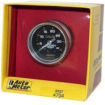 "Manômetro Pressão Turbo 0 - 35 PSI - Mecânico - 2"" 1/16"" - Carbon Fiber - AUTO METER  - PRO-1 Serious Performance"