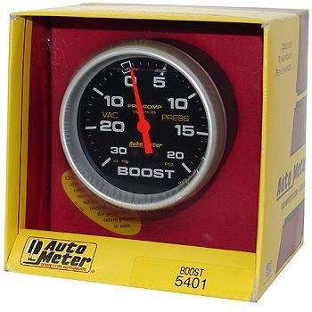 "Manômetro Pressão Turbo-Vácuo 0 - 20 Psi - Mecânico - 2"" 5/8""-Pro-Comp com Líquido - AUTO METER  - PRO-1 Serious Performance"