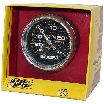 "Manômetro Pressão Turbo-Vácuo 0 - 30 PSI - Mecânico - 2"" 5/8"" - Carbon Fiber - AUTO METER  - PRO-1 Serious Performance"