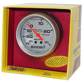 "Manômetro Pressão Turbo-Vácuo 0 - 30 Psi - Mecânico - 2"" 5/8""- Pro Comp Silver - AUTO METER  - PRO-1 Serious Performance"
