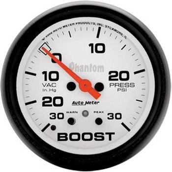 "Manômetro Pressão Turbo-Vácuo c/ Memória 0 - 30 Psi - Elétrico - 2"" 5/8"" - Phantom - AUTO METER  - PRO-1 Serious Performance"