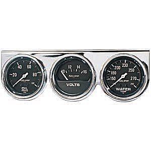"Painel 3 Manômetros 2"" 5/8"" Pressão de Óleo / Temperatura de Água / Voltímetro - Auto Gage - AUTO METER  - PRO-1 Serious Performance"