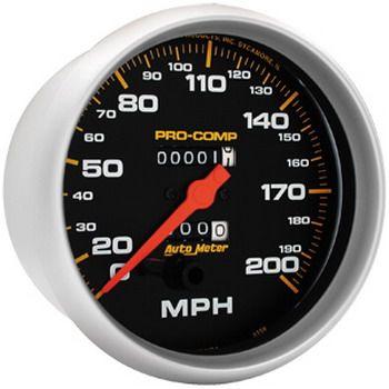 "Velocimetro 200 Mph - Mecãnico - 5"" - Pro Comp Preto - AUTO METER  - PRO-1 Serious Performance"