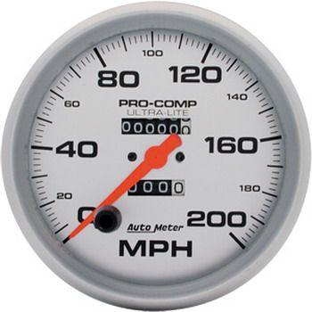 "Velocímetro 200 MPH - Mecânico - 5"" - Ultra-Lite - AUTO METER  - PRO-1 Serious Performance"