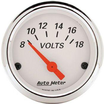 """Voltímetro - 8-18 Volts - Elétrico - 2 1/16"""" - Arctic White - AUTO METER  - PRO-1 Serious Performance"""