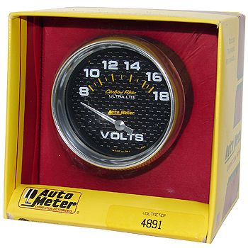 """Voltímetro - 8-18 Volts - Elétrico - 2"""" 5/8"""" - Carbon Fiber - AUTO METER  - PRO-1 Serious Performance"""