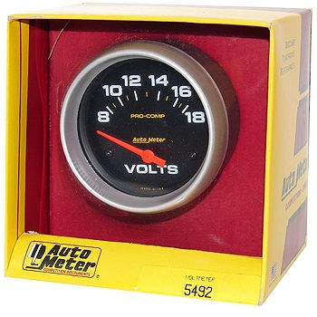 """Voltímetro - 8-18 Volts - Elétrico - 2"""" 5/8"""" - Pro-Comp - AUTO METER  - PRO-1 Serious Performance"""