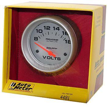 """Voltímetro - 8-18 Volts - Elétrico - 2 5/8"""" - Ultra-Lite - AUTO METER  - PRO-1 Serious Performance"""