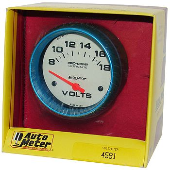 "Voltímetro - 8-18 Volts - Elétrico - 2"" 5/8"" - Ultra-Nite (Fosforescente) - AUTO METER  - PRO-1 Serious Performance"