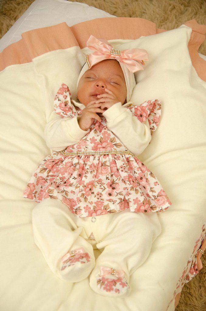f1c9e509a Saída de Maternidade Eloá Salmão 5 Peças - Imperial Baby