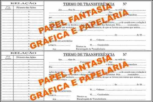 livro de registro de transferência de ações nominativas (Papelfantasia)