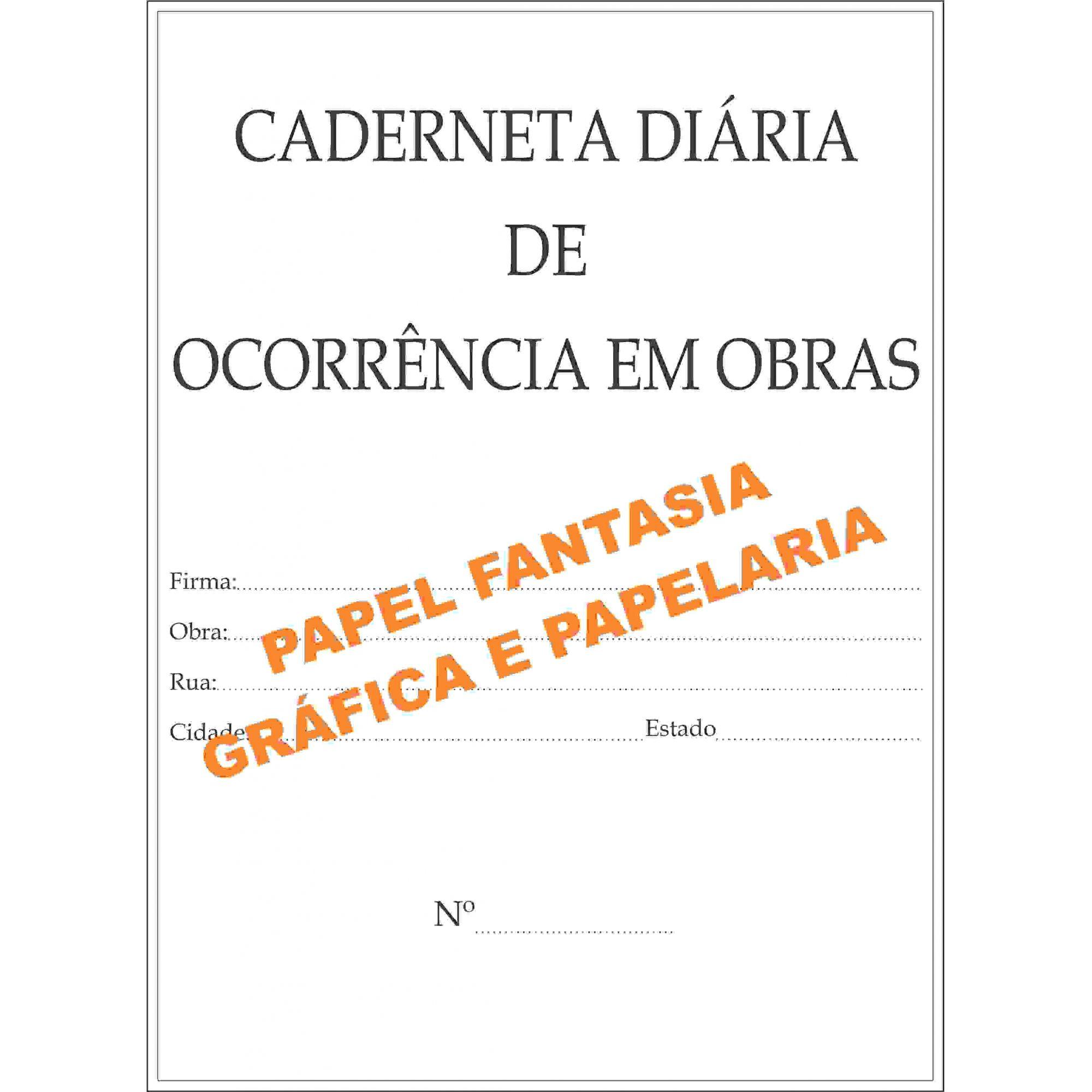 Caderneta Diário de obra  25 x 4 ( Papel Auto Copiativo )