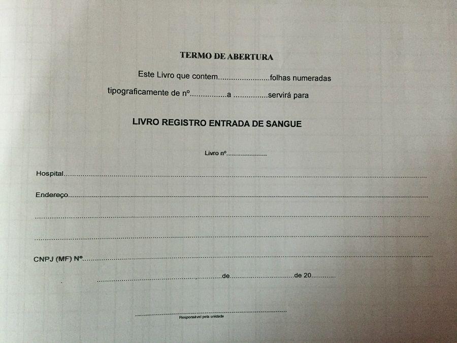 Livro de Registro Entrada e Saída de Sangue 200 Folhas