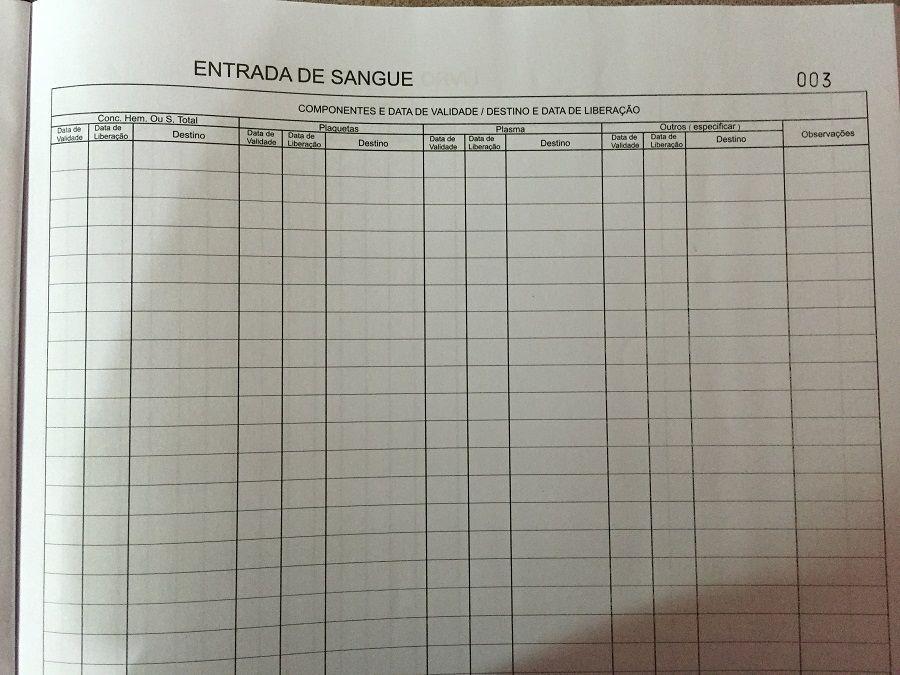 Livro de Registro Entrada e Saída de Sangue 200 Folhas (Papelfantasia)