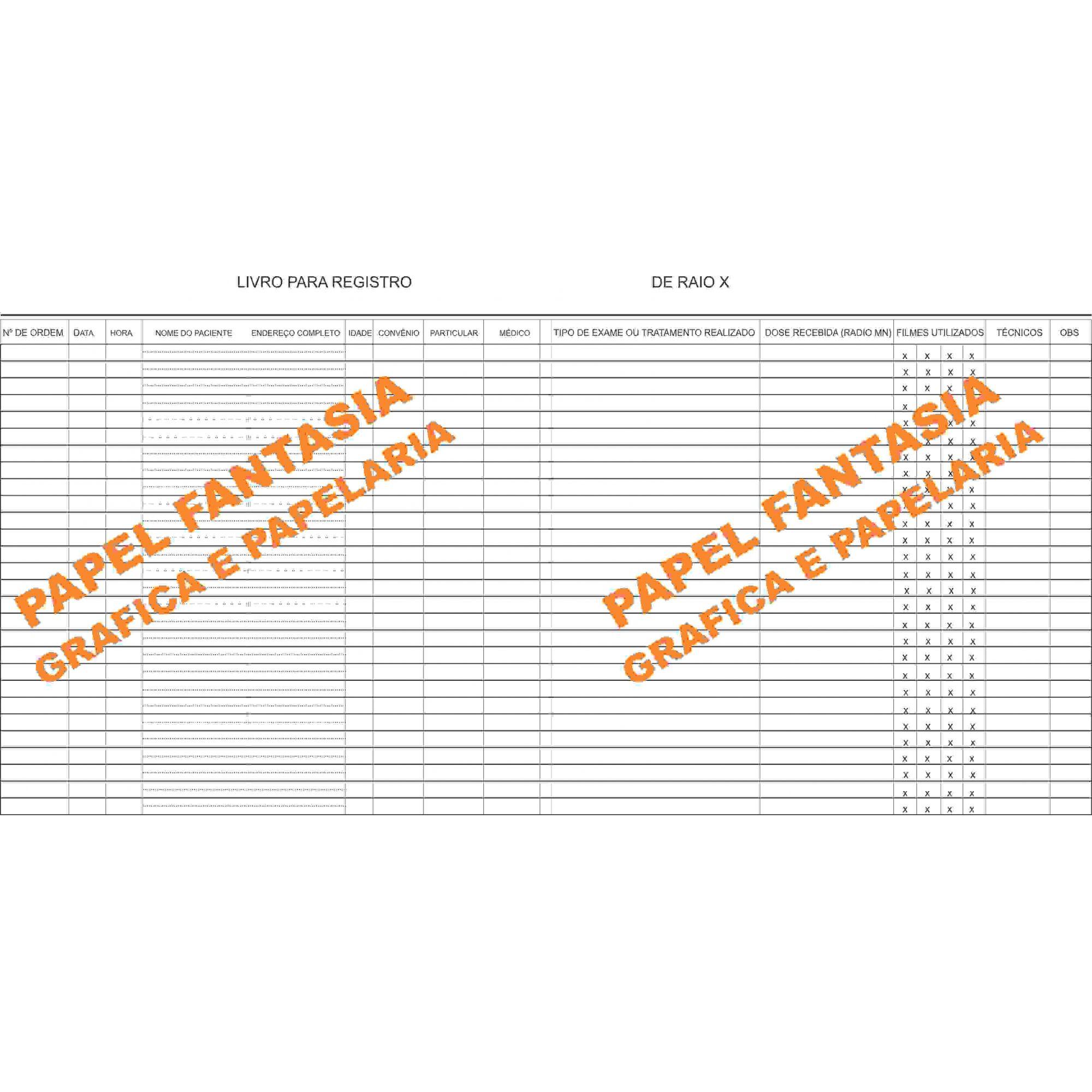 Livro de Registro de  Raiox  - Tomografia 200 folhas