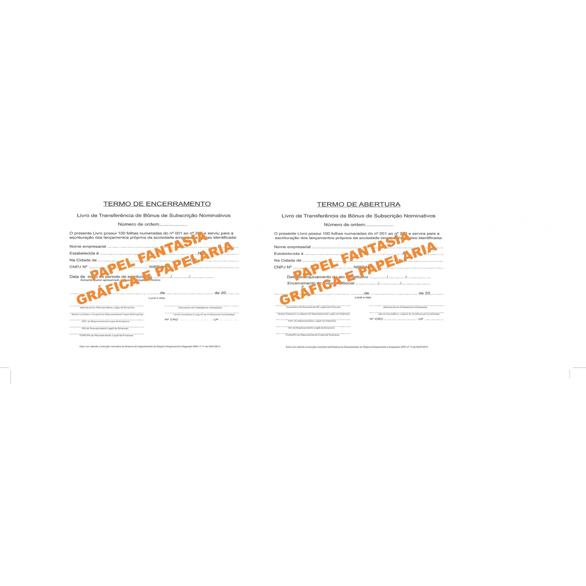 Livro de Registro de Transferência de Bônus de Subscrição Nominativas 100 folhas