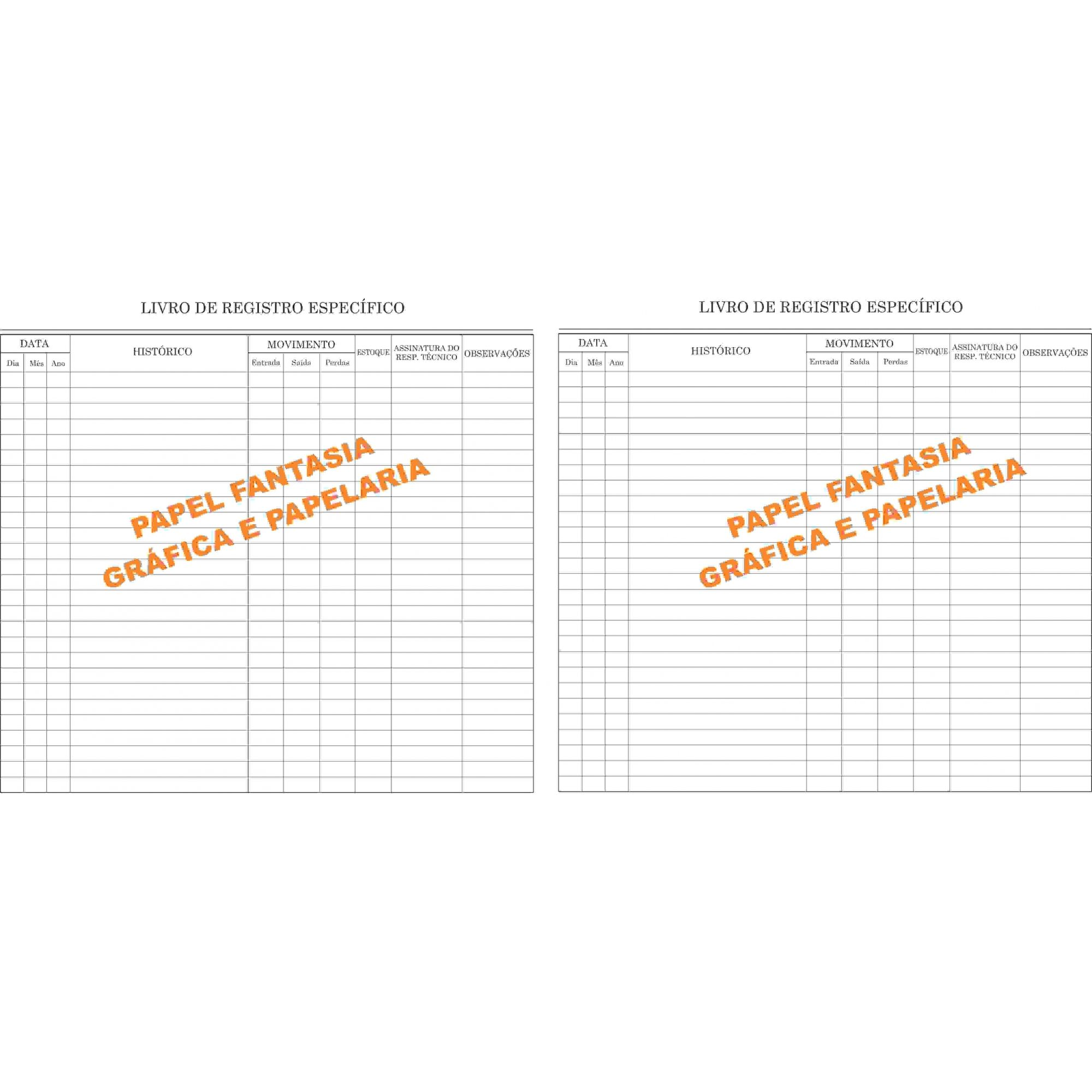Livro de Registro Específico -  100 Folhas (Papelfantasia)