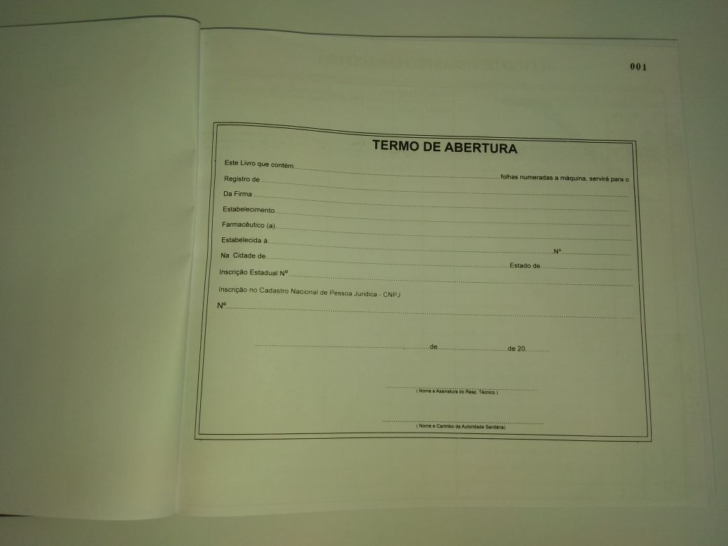 Livro de Registro Específico - Psicotrópicos 500 Folhas