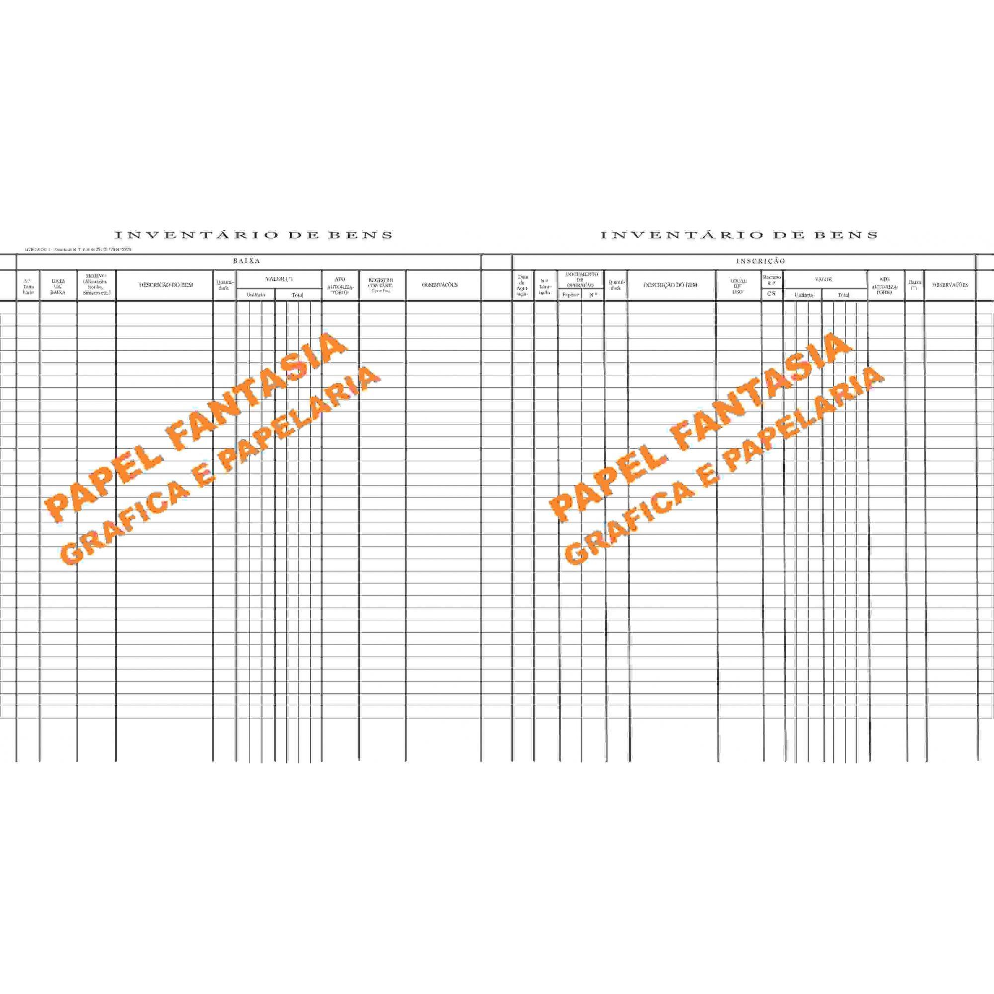 Livro de Registro Inventário de Bens Modelo 7 - 200 FOLHAS